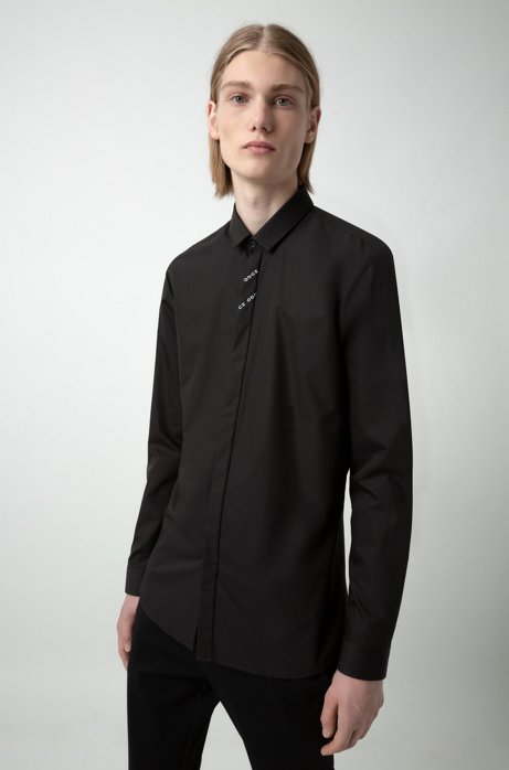 Extra-slim-fit shirt with reversed-logo tape detail, Black
