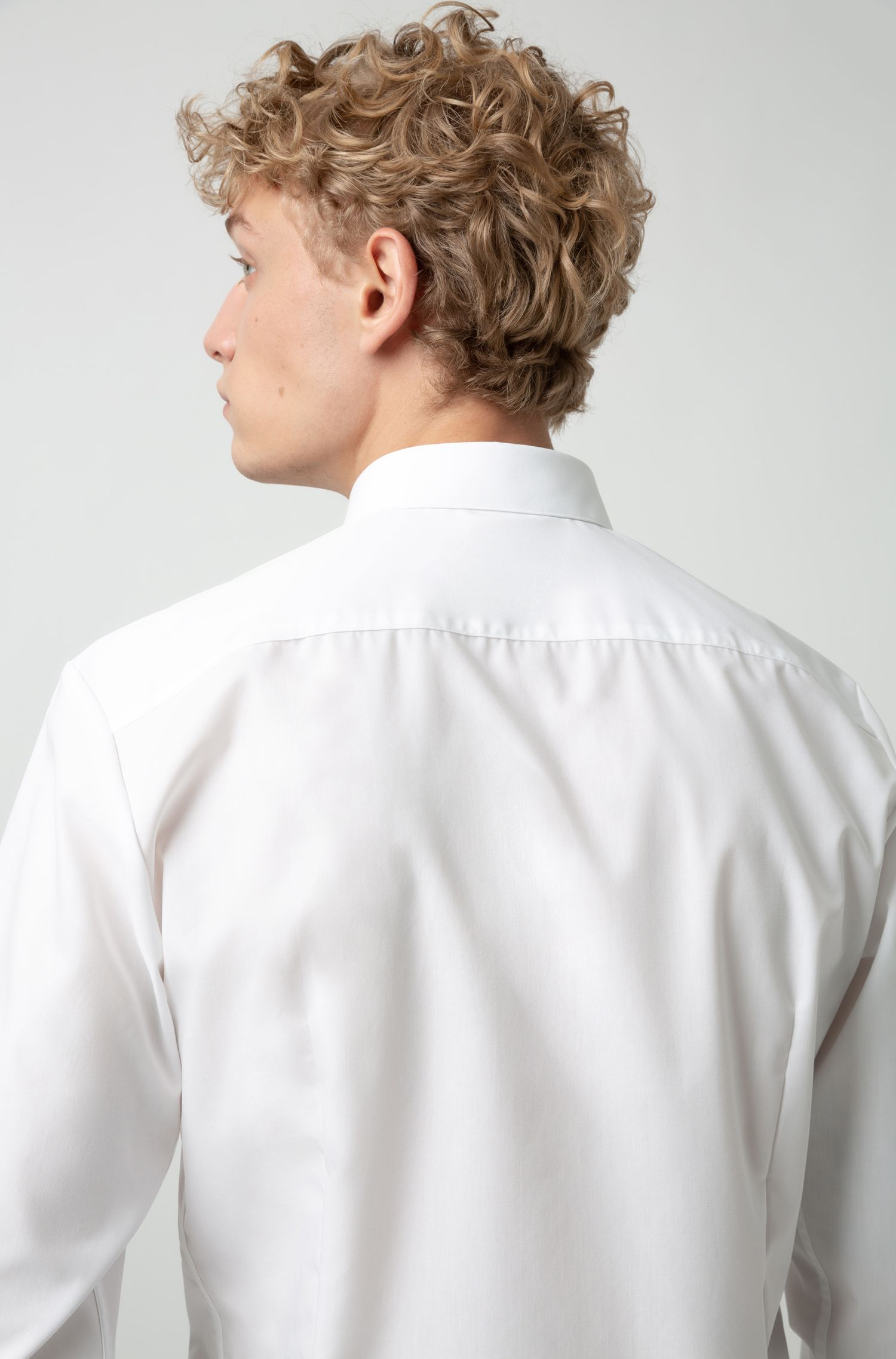 Extra-slim-fit shirt with reversed-logo placket tape, Open White