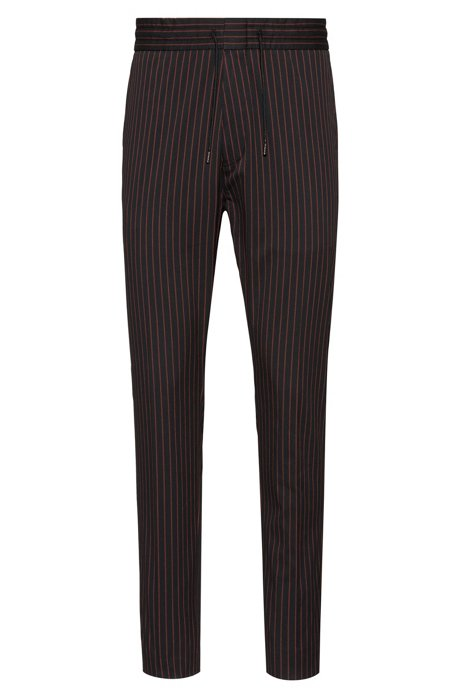 Tapered-fit pinstripe pants with drawstring waistband, Black