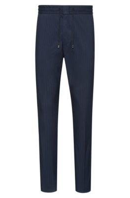 Tapered-fit pinstripe pants with drawstring waistband, Dark Blue