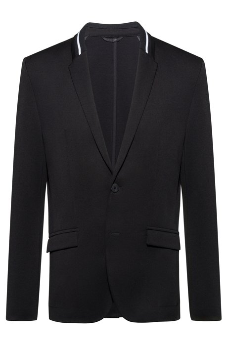 Regular-fit tailored jacket with knitted collar stripe, Black