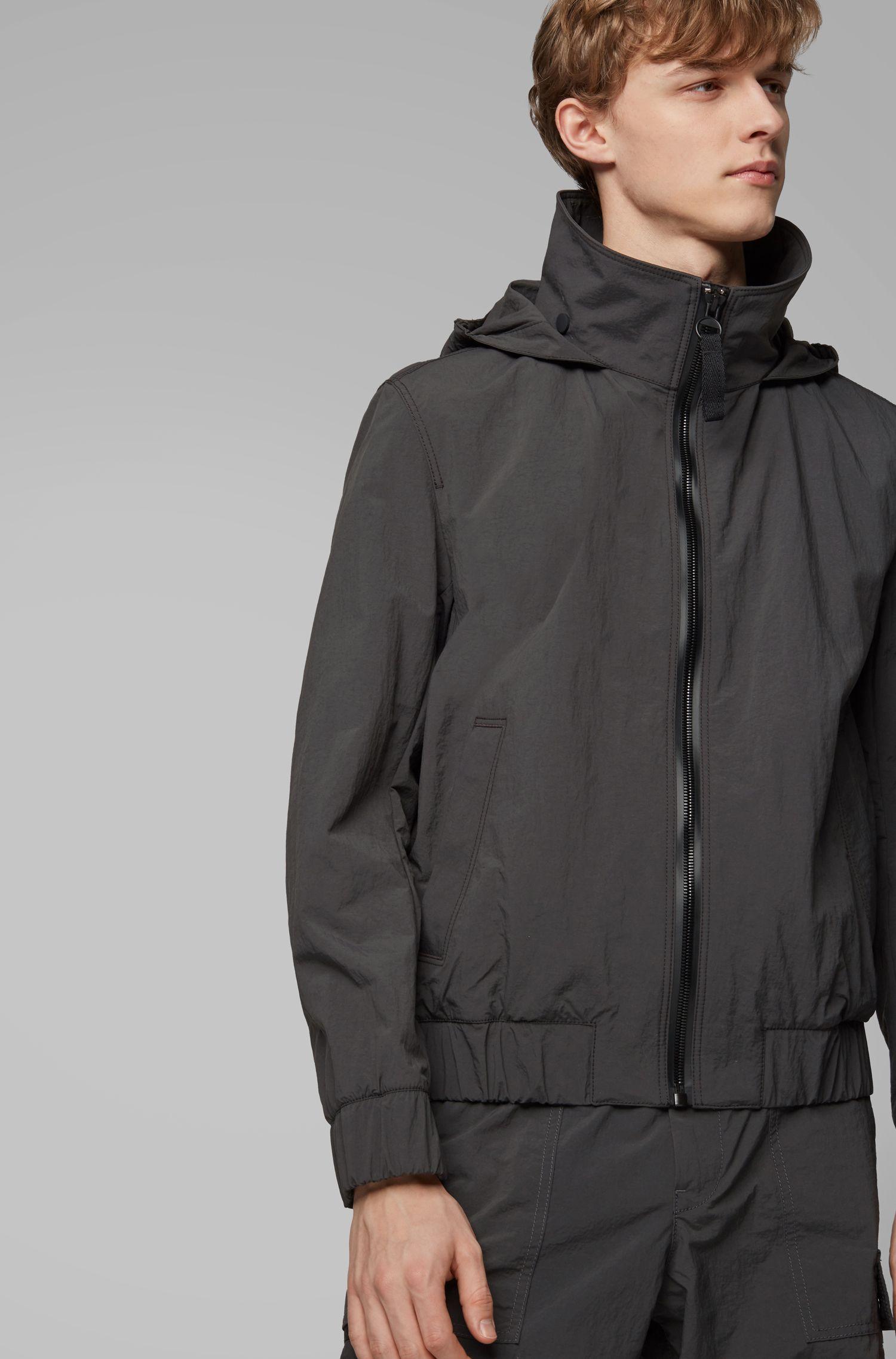 Mesh-lined jacket with packable logo hood, Dark Grey