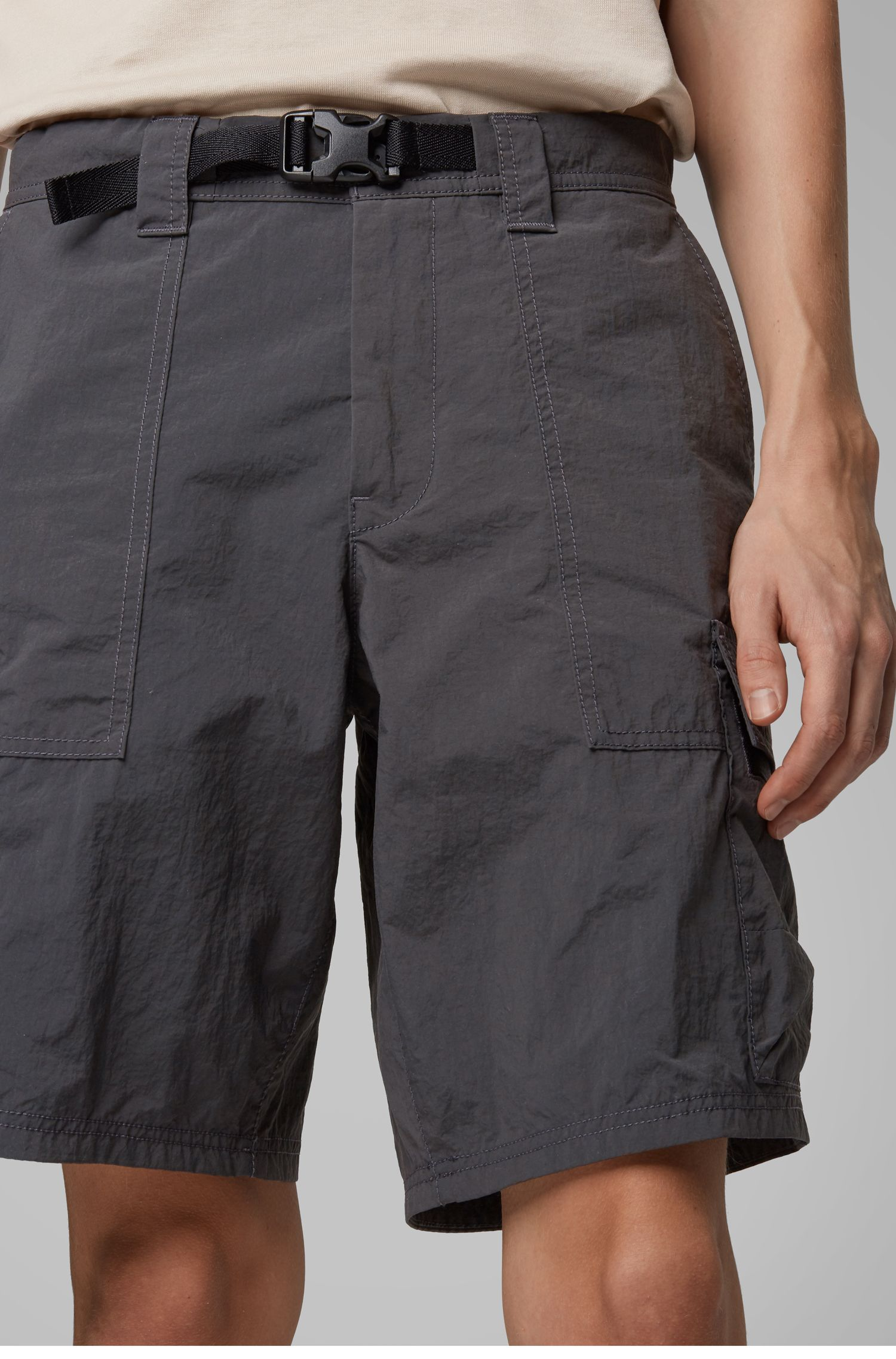 Relaxed-fit shorts with side-release buckled closure, Dark Grey