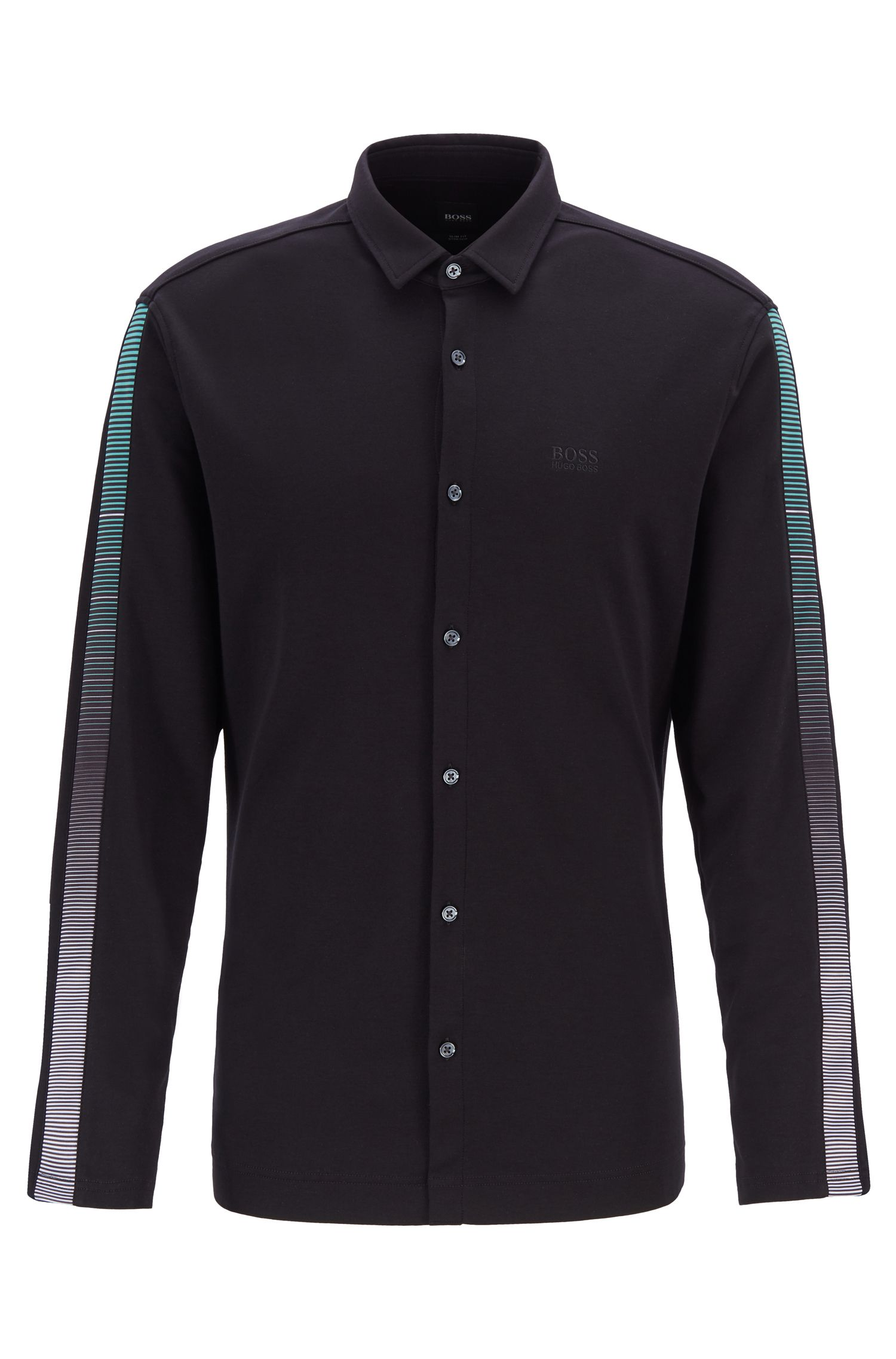 Slim-fit shirt in cotton with striped sleeve trim, Black
