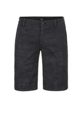 Straight-leg shorts in pigment-printed stretch-cotton twill, Black