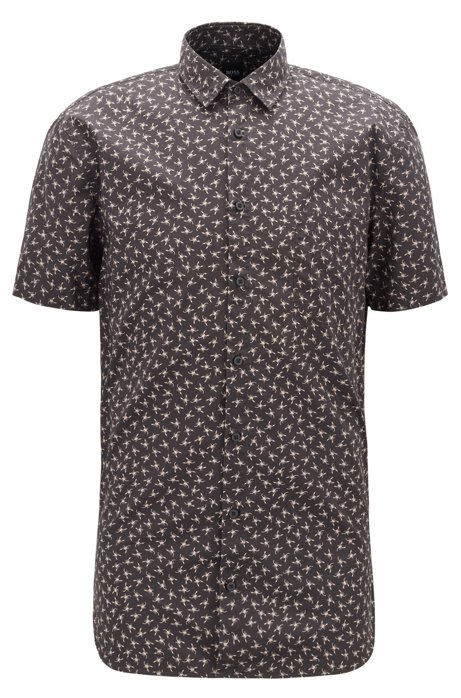 Slim-fit shirt in cotton with mini-scorpion print, Black
