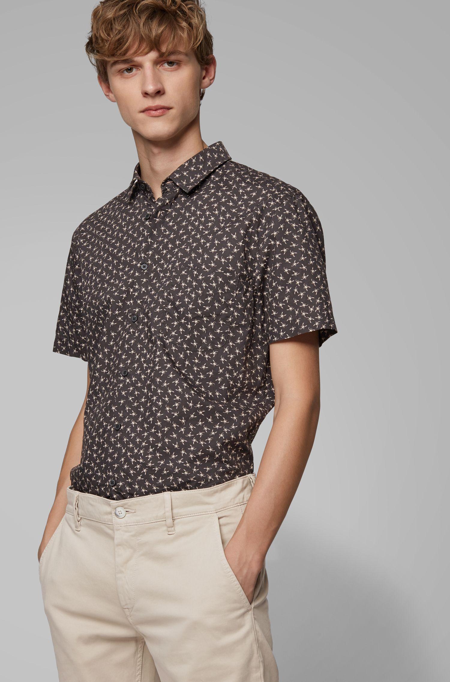 Slim-fit shirt in cotton with mini-scorpion print, Black