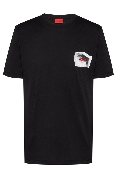 Reverse-logo T-shirt with front and back Berlin print, Black