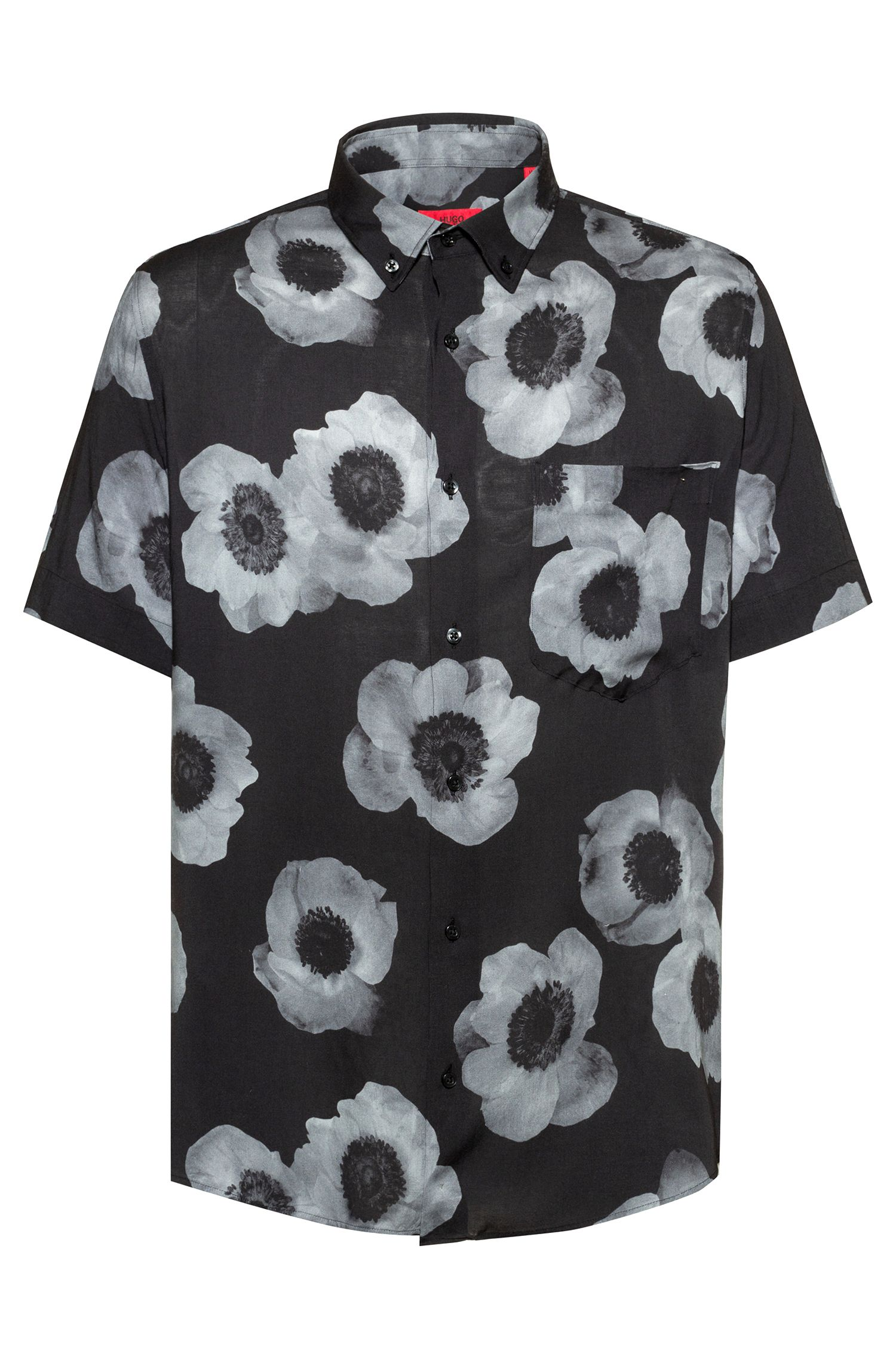 Relaxed-fit shirt with negative-effect floral print, Black