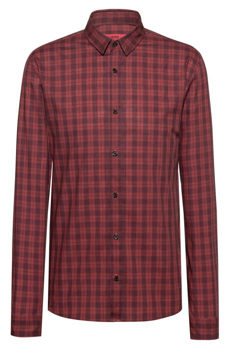 Extra-slim-fit checkered shirt in cotton tweed, Dark Orange