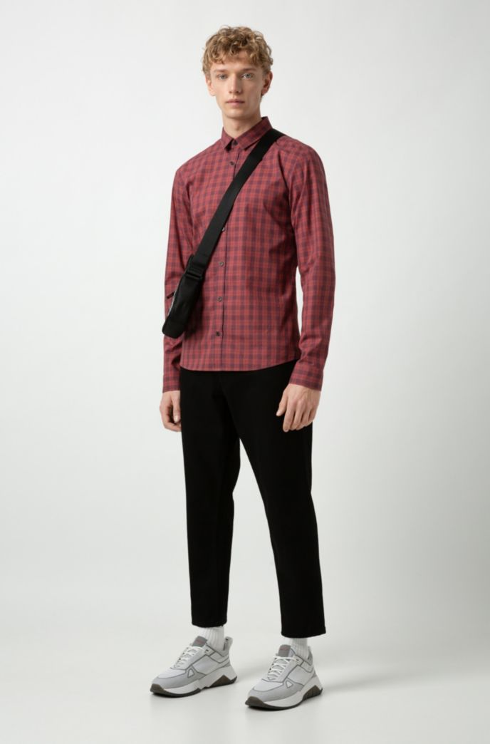 Extra-slim-fit checkered shirt in cotton tweed