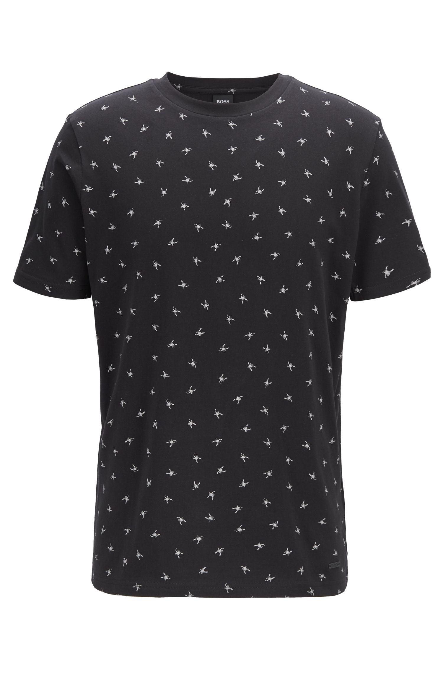 Regular-fit T-shirt with mini scorpion print, Black