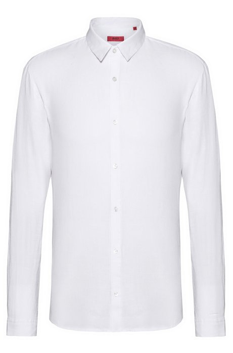 Extra-slim-fit linen shirt with dyeing treatment, Open White