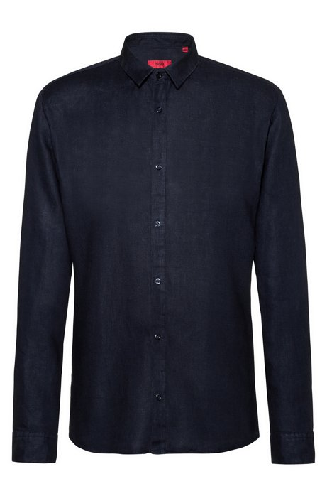 Extra-slim-fit linen shirt with dyeing treatment, Dark Blue