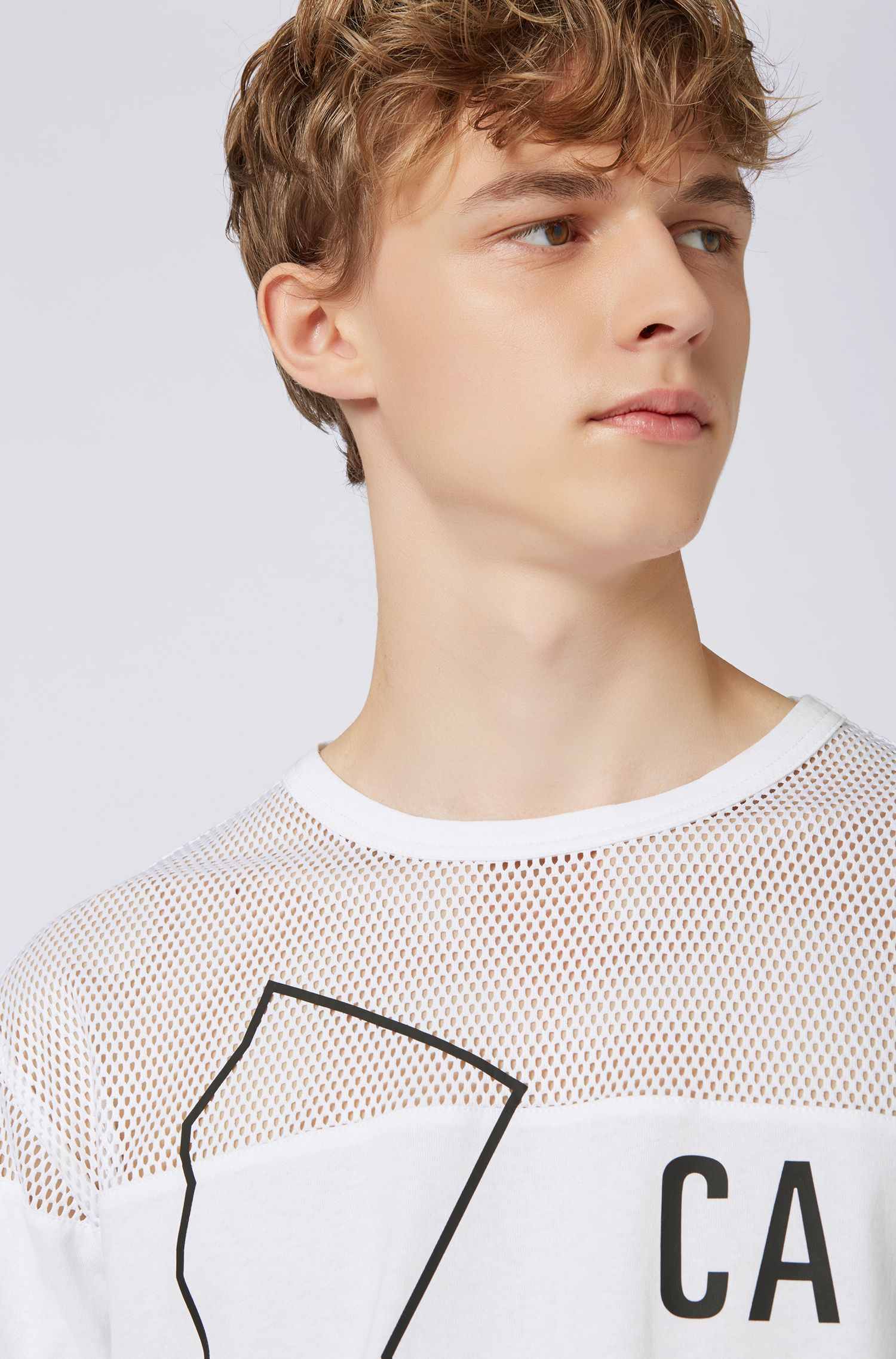 Relaxed-fit T-shirt in mixed fabrics with statement print, White