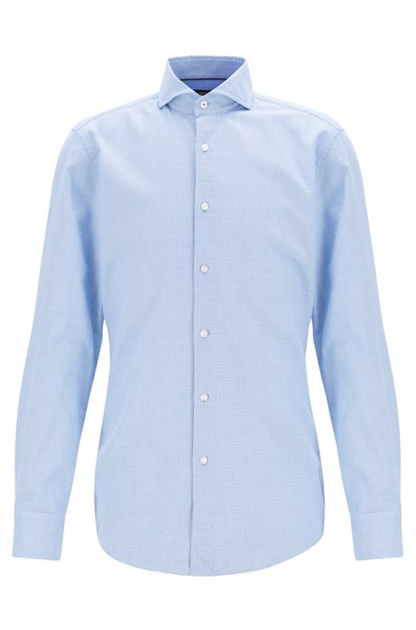 Slim-fit shirt in two-tone micro-structured cotton, Blue