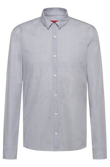 Extra-slim-fit cotton shirt in degradé jacquard, Open Grey