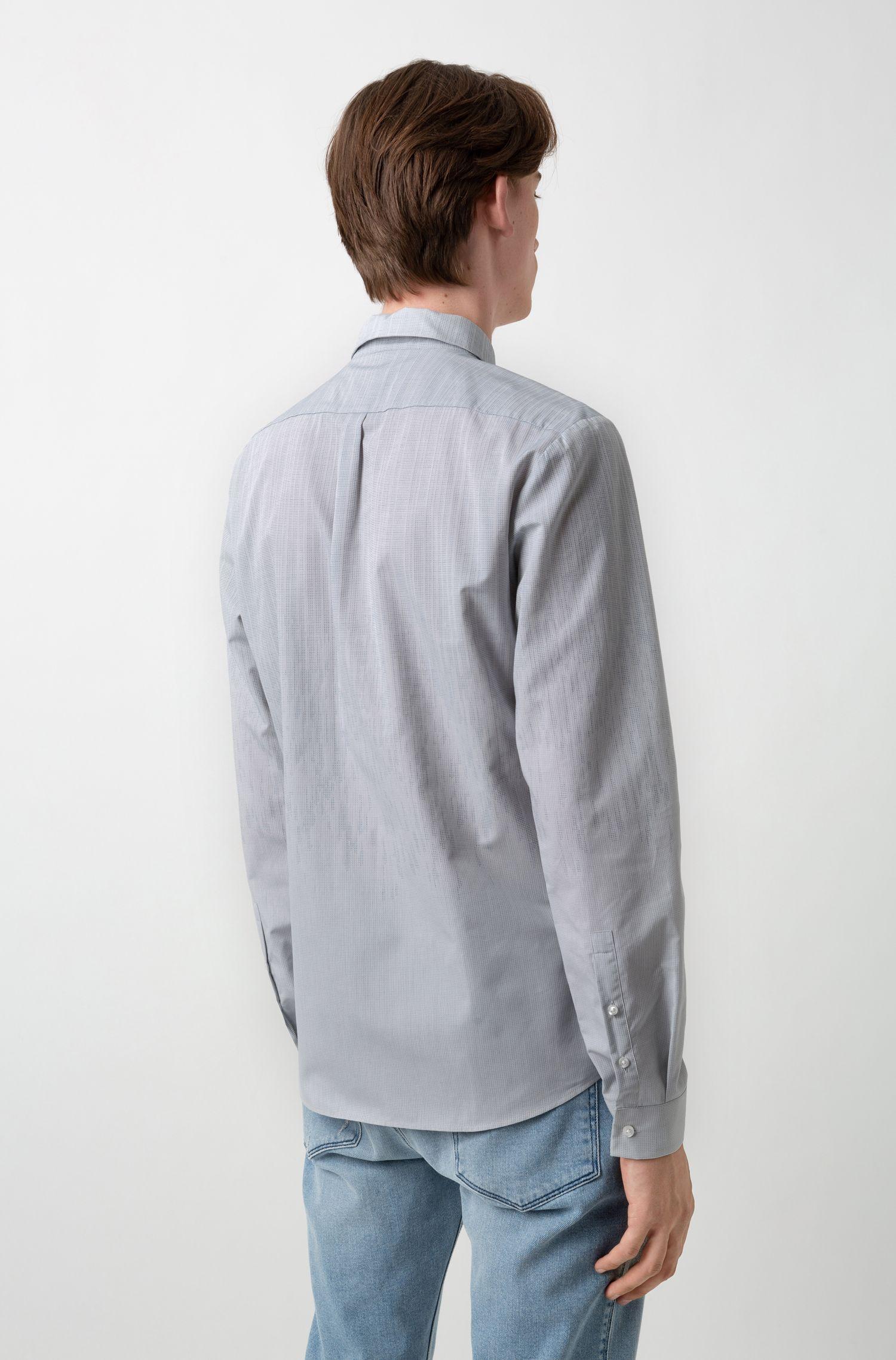 Extra-slim-fit cotton shirt in degradé jacquard, Open Grey