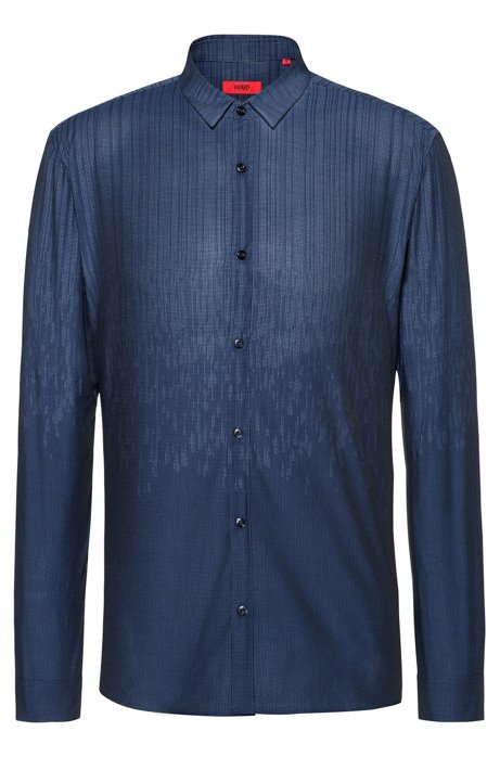 Extra-slim-fit cotton shirt in degradé jacquard, Dark Blue