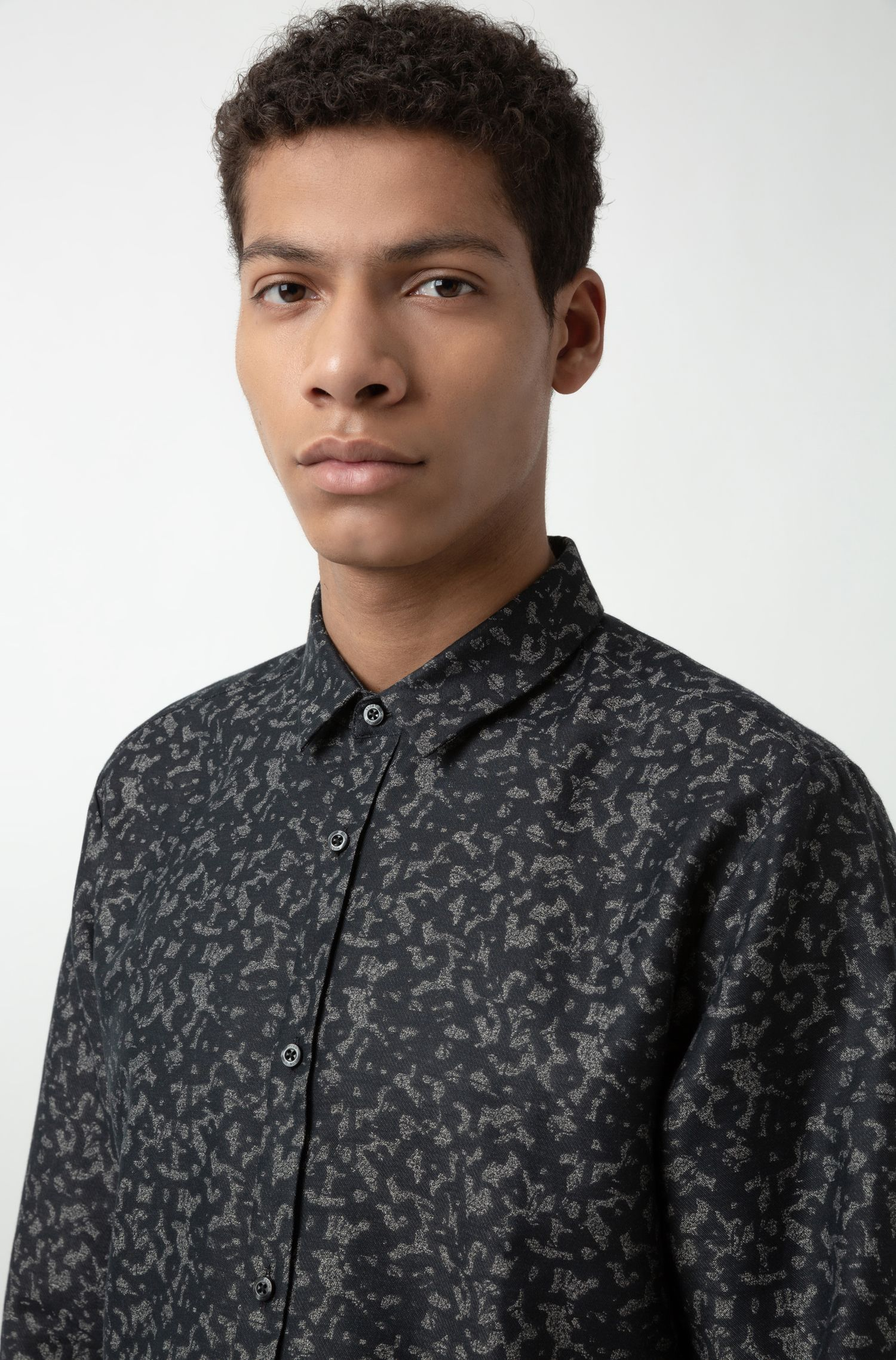 Extra-slim-fit cotton-jacquard shirt, Black