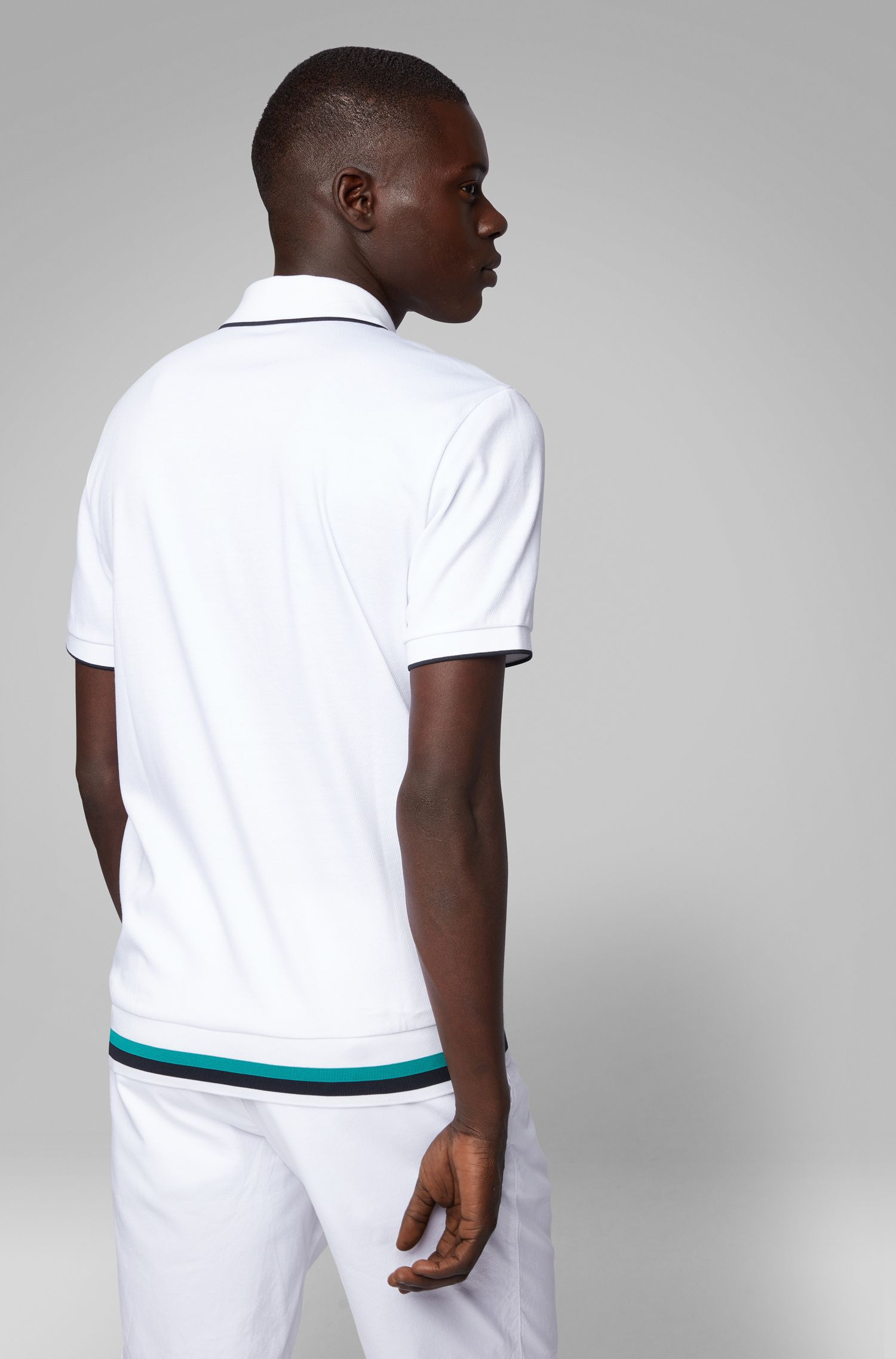 Regular-fit polo shirt with zipper-neck , White