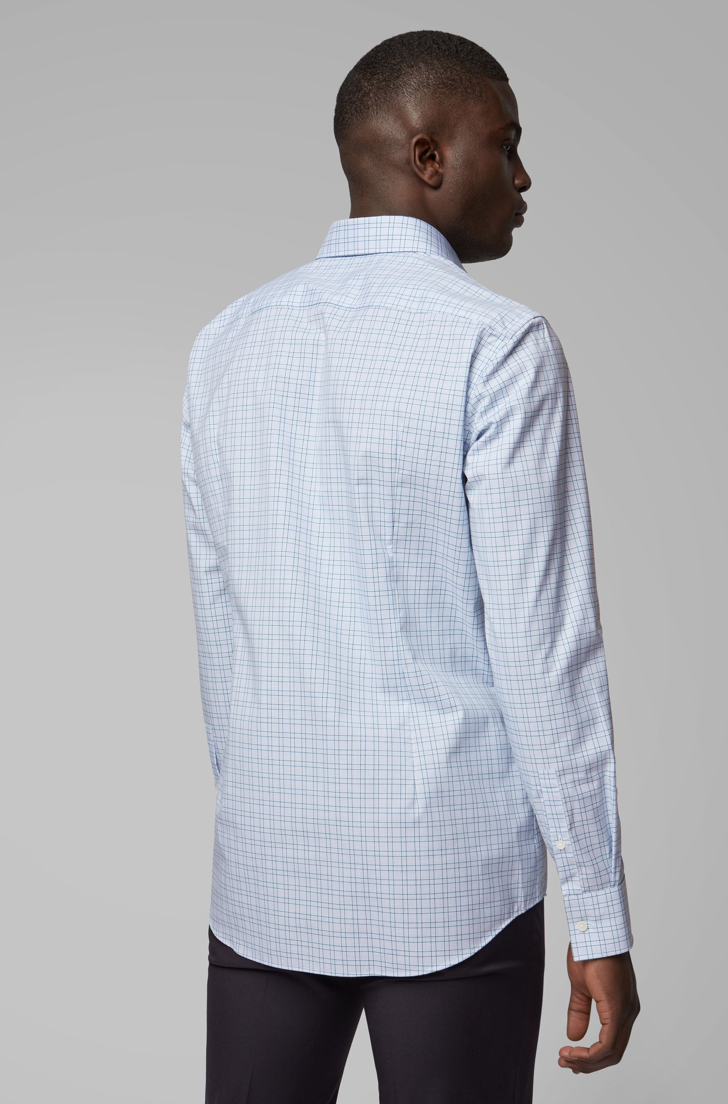 Slim-fit checked shirt with easy-iron finishing, Green