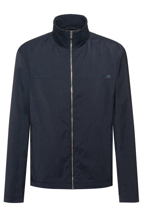 Slim-fit water-repellent jacket with reverse-logo print, Dark Blue