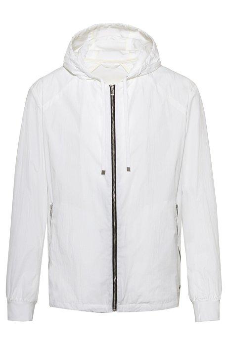 Zip-through hooded jacket with bear motifs, White