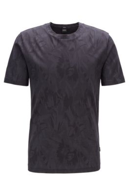 Slim-fit T-shirt with jacquard-woven floral pattern, Black