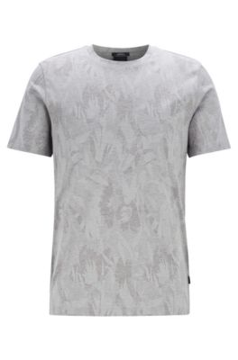 Slim-fit T-shirt with jacquard-woven floral pattern, Open Grey
