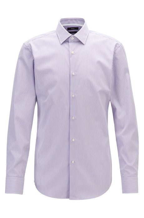Slim-fit shirt in striped easy-iron cotton, Purple