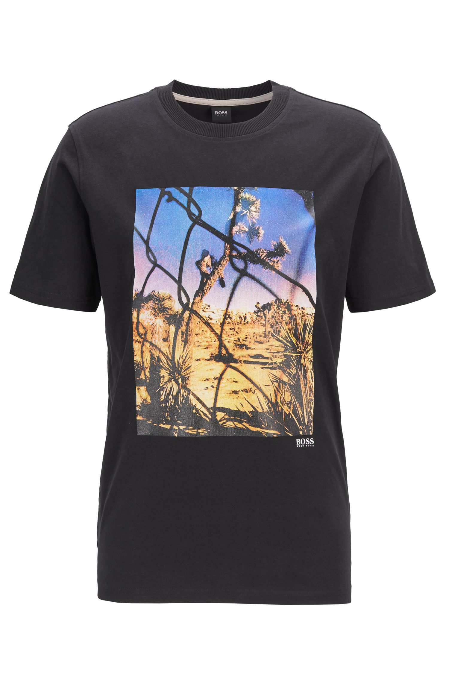 Crew-neck T-shirt in washed cotton with photographic print, Black
