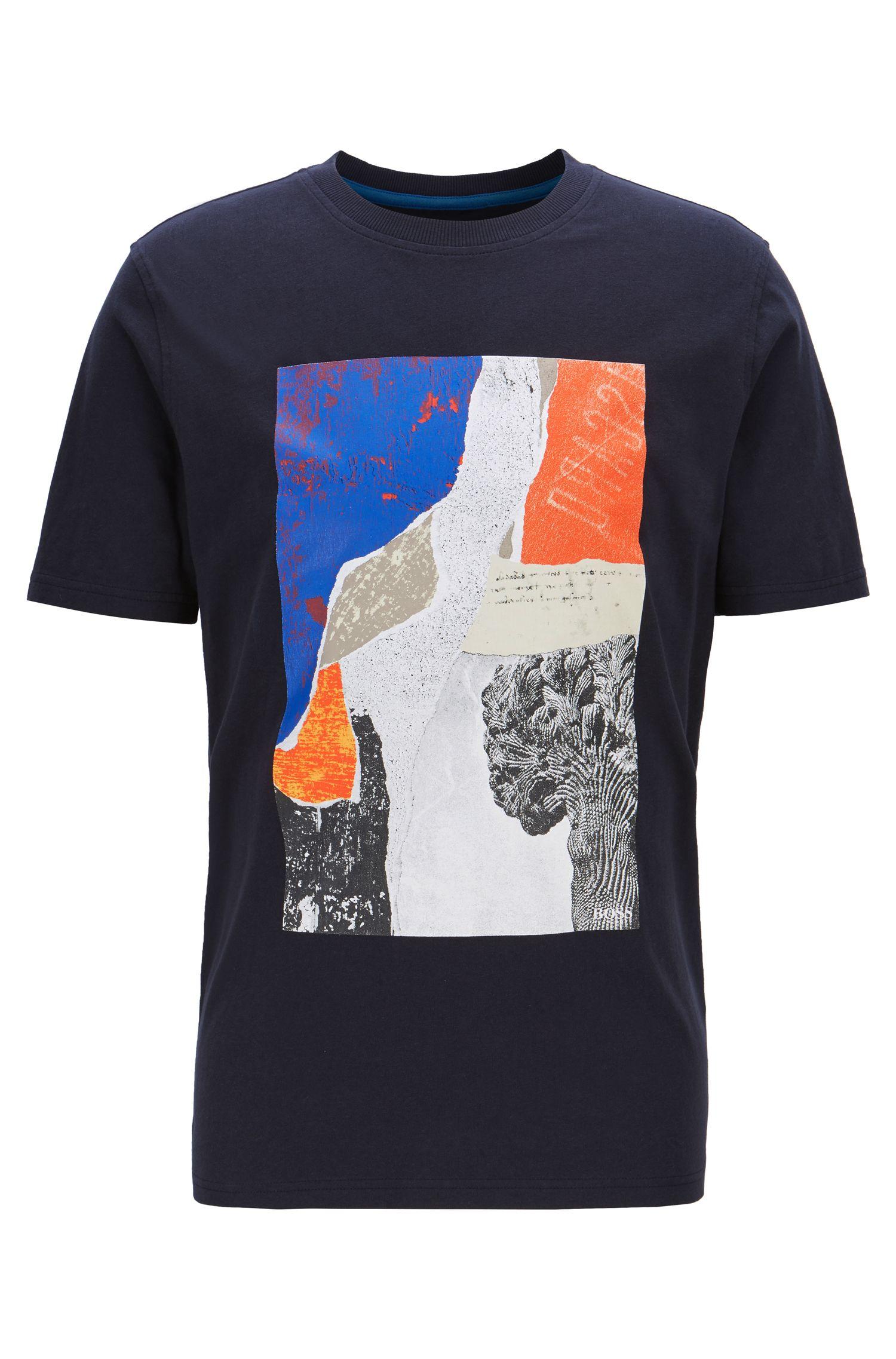 Regular-fit T-shirt with screen-printed artwork, Dark Blue