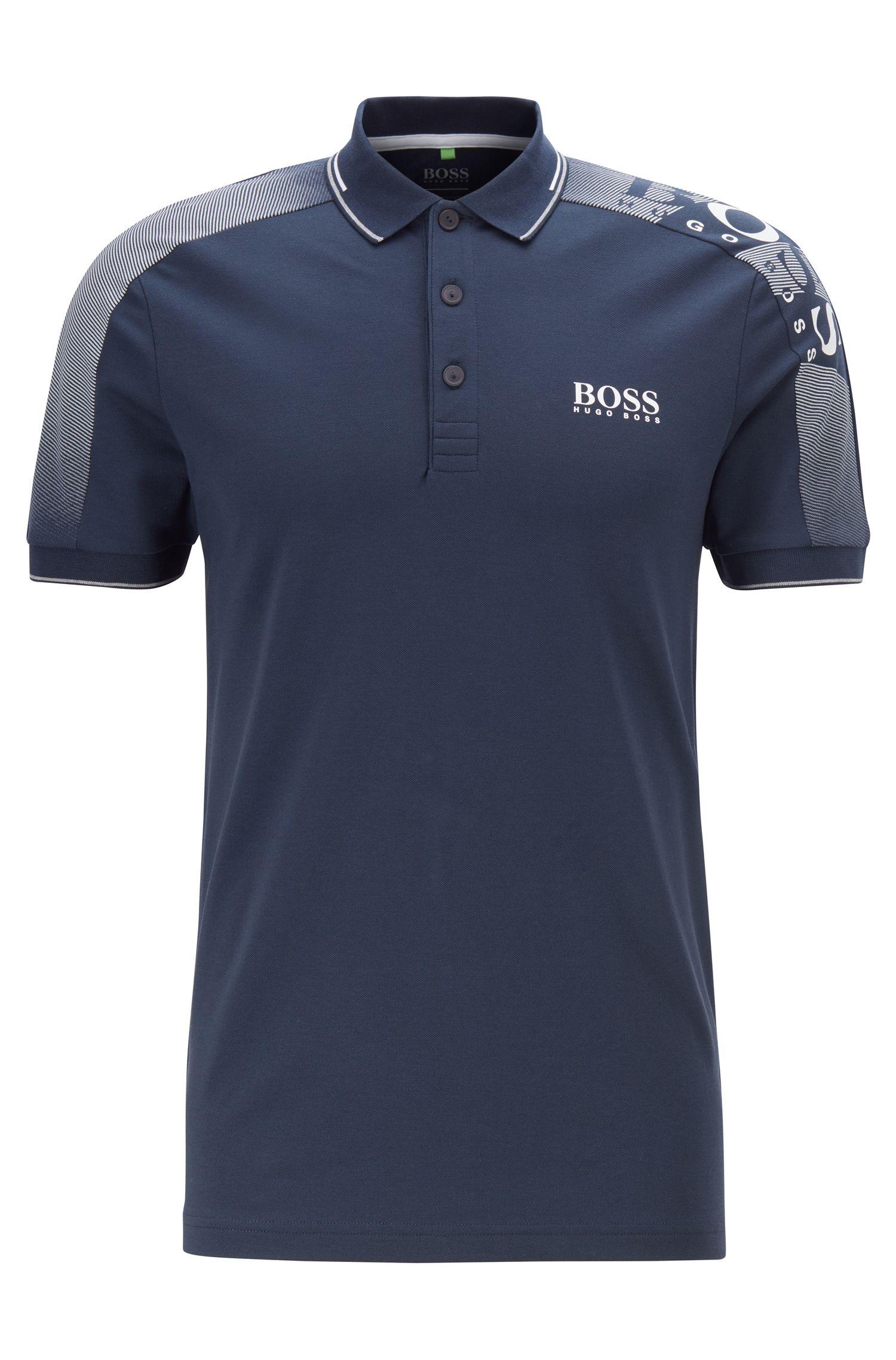 Slim-fit polo shirt with logo-print shoulders and S.Café®, Dark Blue