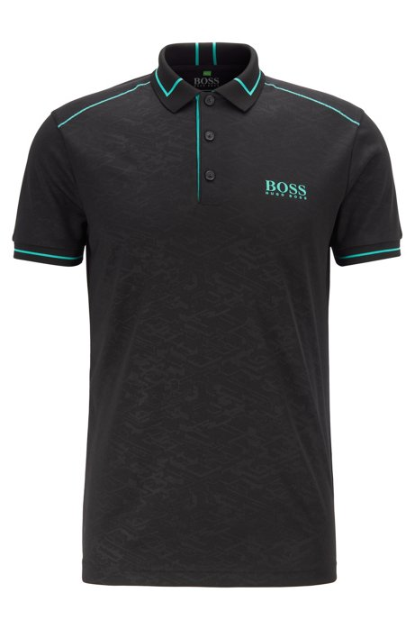 Moisture-wicking polo shirt in debossed technical piqué, Black