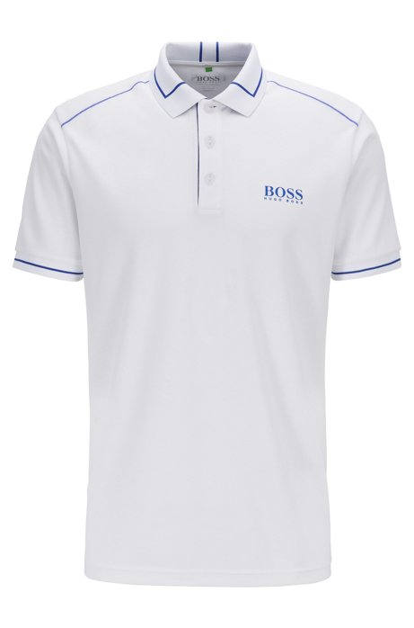 Moisture-wicking polo shirt in debossed technical piqué, White