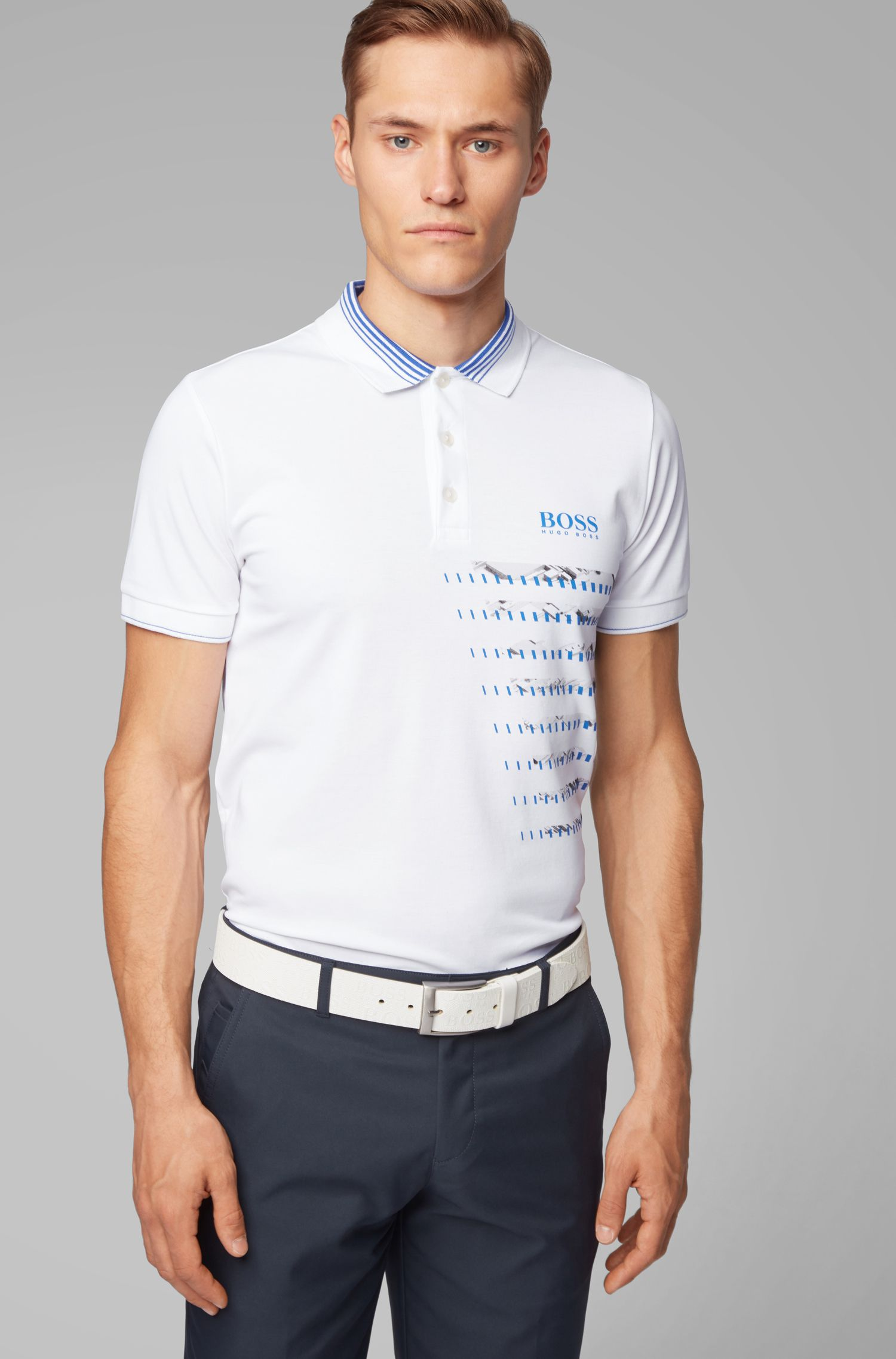 Slim-fit golf polo shirt in moisture-wicking fabric, White