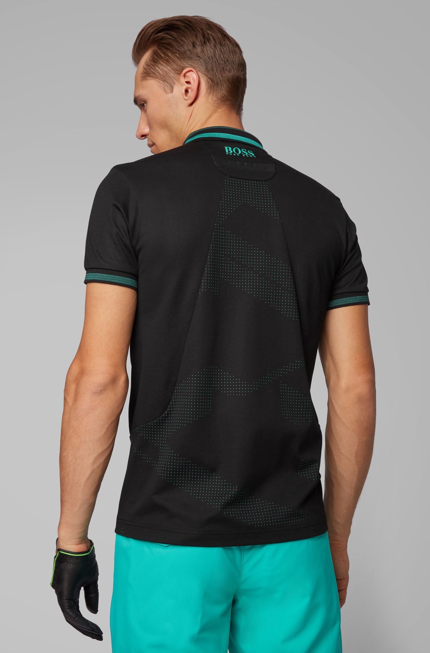 Slim-fit golf polo shirt with contrast details, Black
