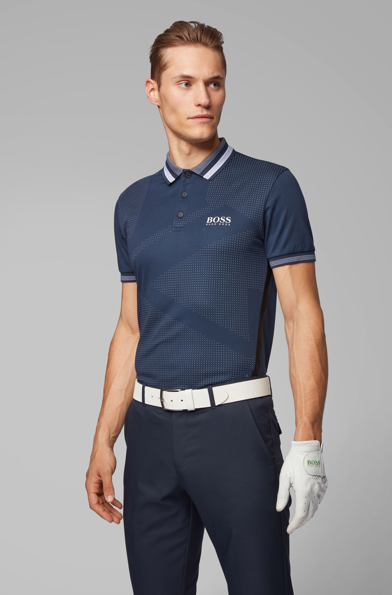 Slim-fit golf polo shirt with contrast details, Dark Blue