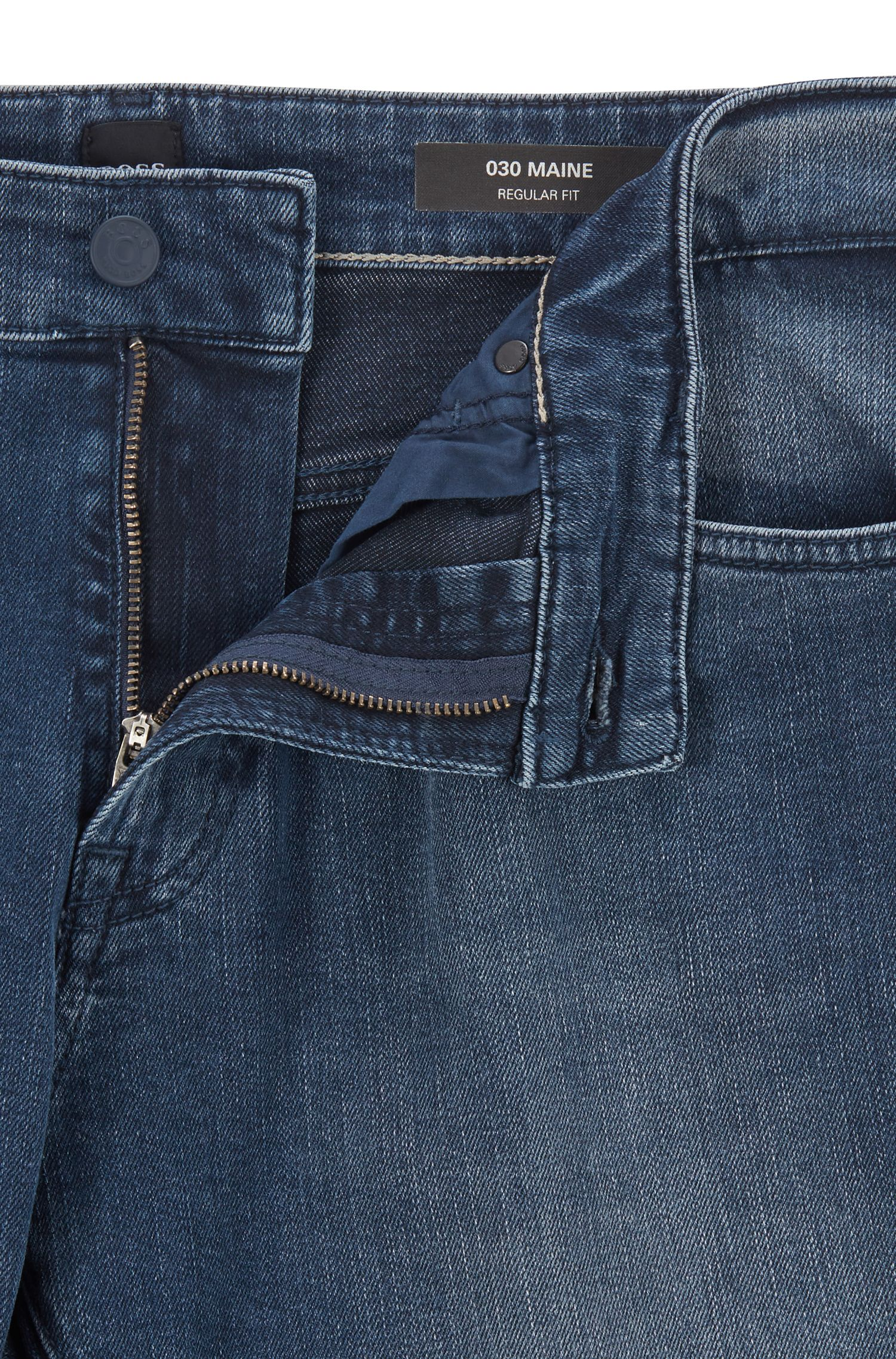 Regular-fit jeans in faded dark-blue denim, Blue