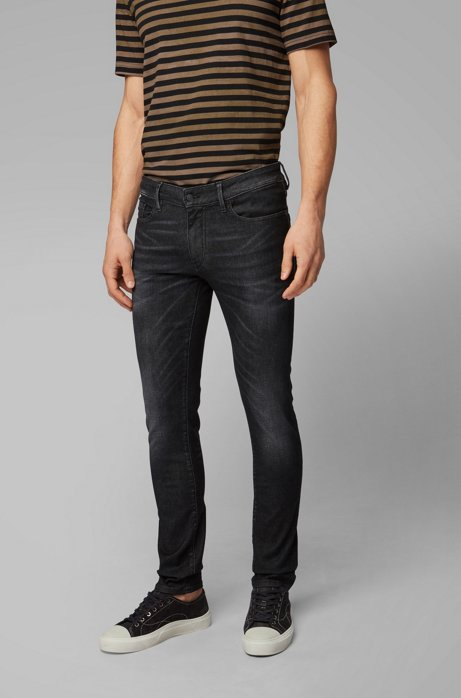 Skinny-fit jeans in super-stretch black denim, Dark Grey