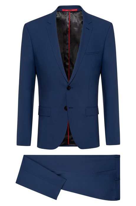 Extra-slim-fit suit in tropical stretch wool, Blue
