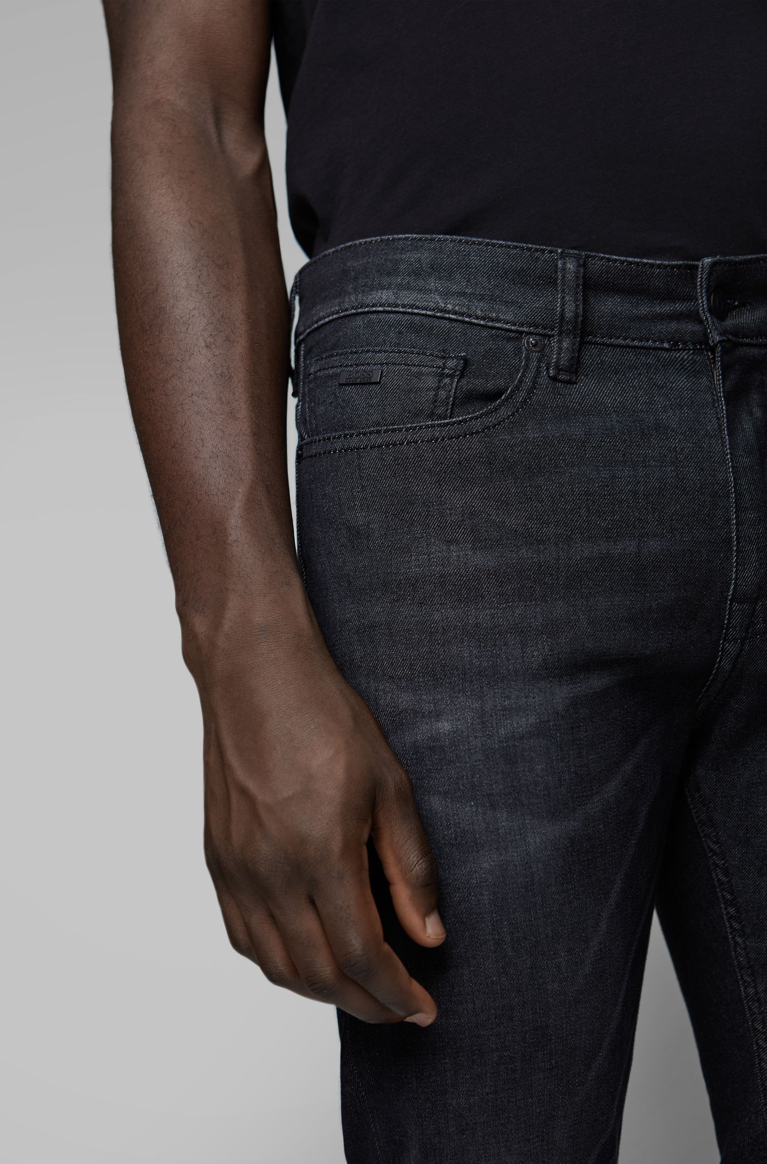 Slim-fit jeans in super-stretch washed black denim, Dark Grey