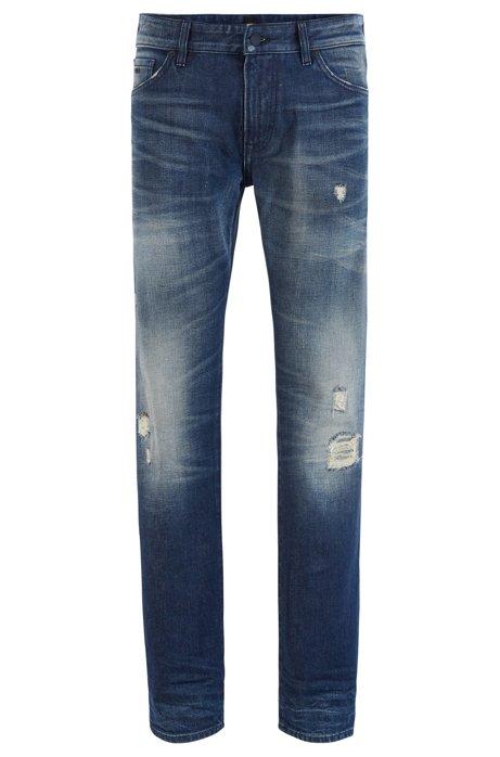 Regular-fit jeans in distressed Candiani denim, Blue