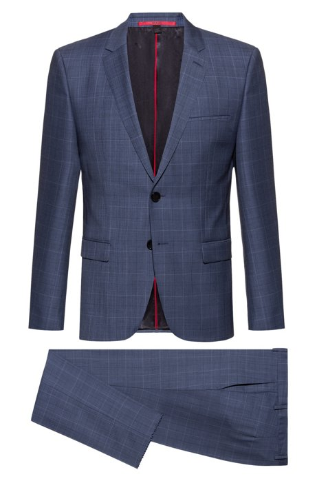 Extra-slim-fit suit in pop-color windowpane check, Light Blue