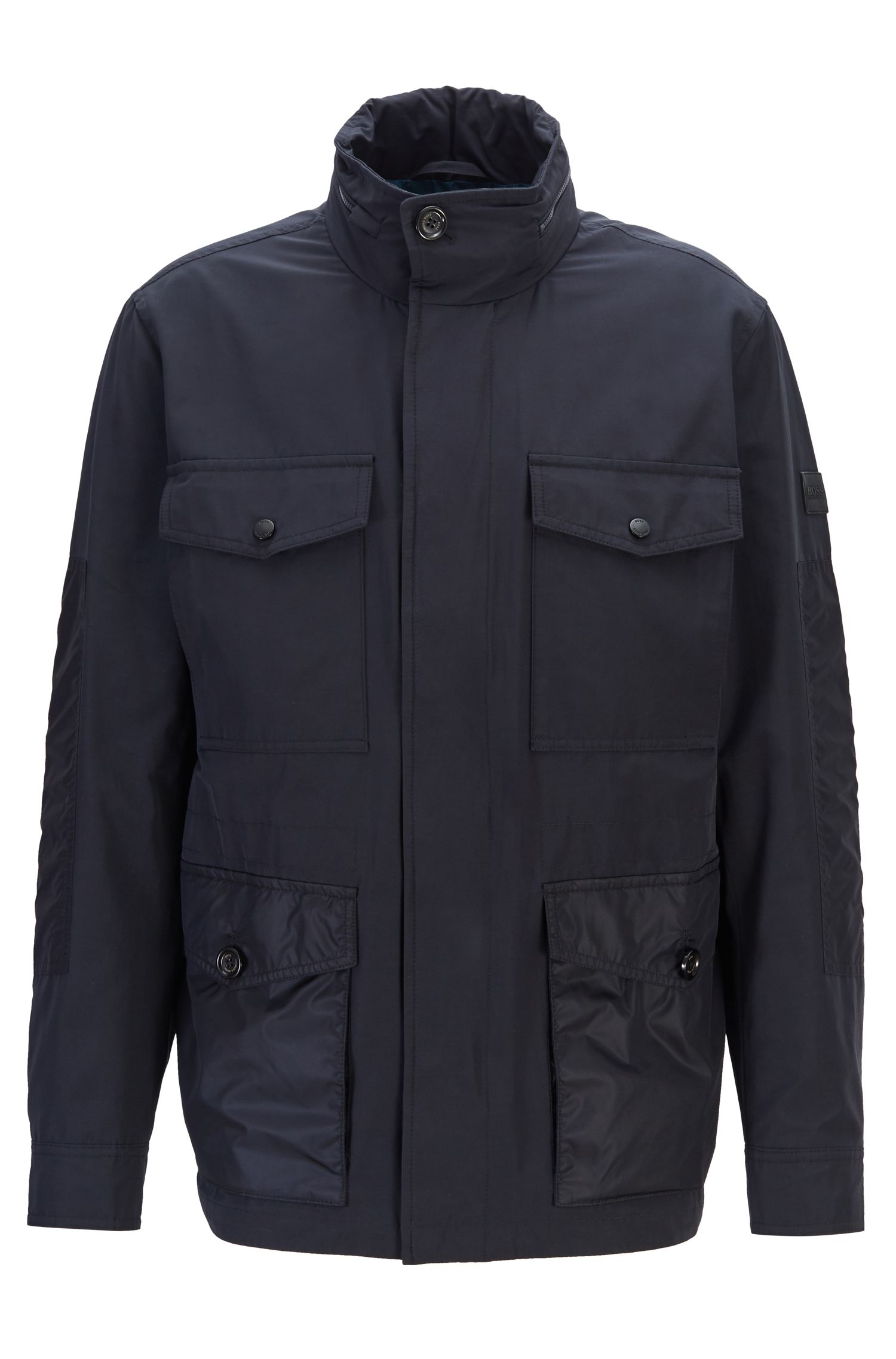 Water-repellent field jacket with packable hood, Dark Blue