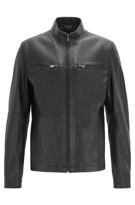 Leather jacket in lamb nappa with zipped sleeves, Black