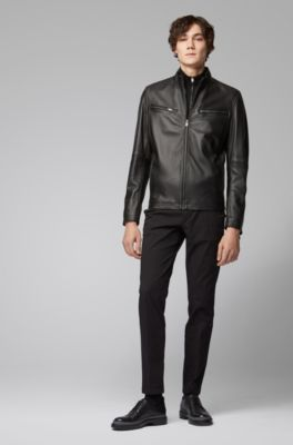 67db97106 Leather jacket in lamb nappa with zipped sleeves