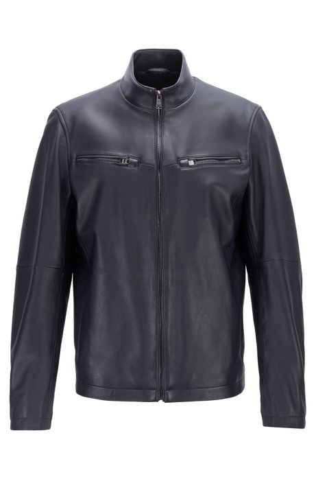 Leather jacket in lamb nappa with zipped sleeves, Dark Blue