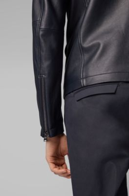 6221777c2 Leather jacket in lamb nappa with zipped sleeves